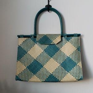 Oversized Woven Straw Two Tone Handbag